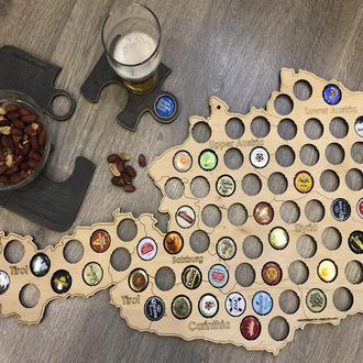 Подарок для мужчины настенная Карта Австрии CAPSBOARD AUSTRIA 01