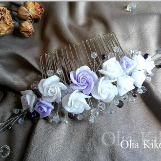 Гребень  для волос с розами, бело сиреневый, полимерная глина.