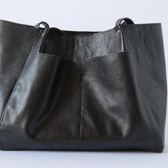 Чёрный кожаный шоппер