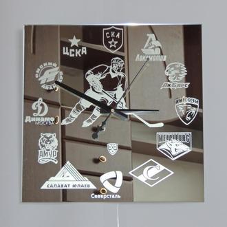 "Хоккей ""КХЛ-1"" зеркальные настенные часы"