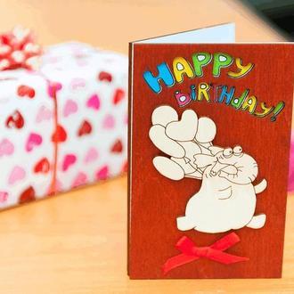 Открытка с деревянной обложкой Happy Birthday, Слон с шариками, объём