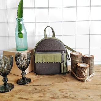 Рюкзак Tassel . Стильный кожаный рюкзак . Женский рюкзак . Шкіряний рюкзак .