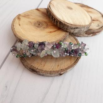 Заколка  с натуральными камнями флюорит