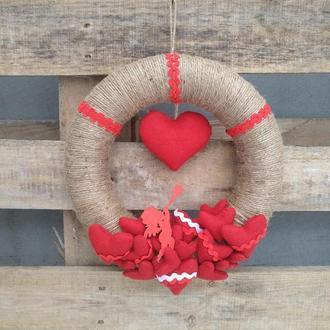 Декор ко дню Валентина, веночек на двери, стену