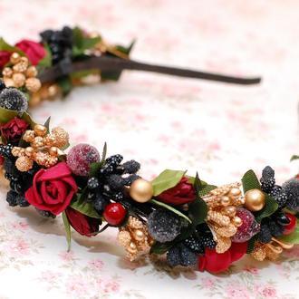 Стильный обруч ободок для волос с цветами