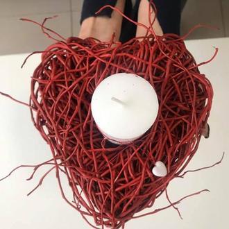 Подсвечник в виде серца из вербы со свечой или без ко дню Валентина, годовщину свадьбы, на свадьбу