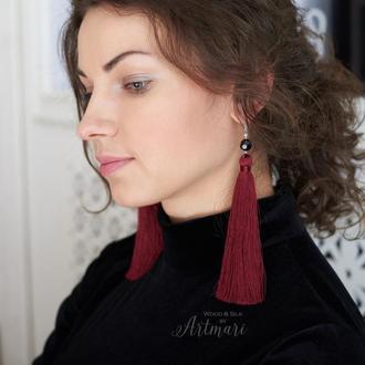 Шелковые серьги-кисти длинные Марсала с бусинами
