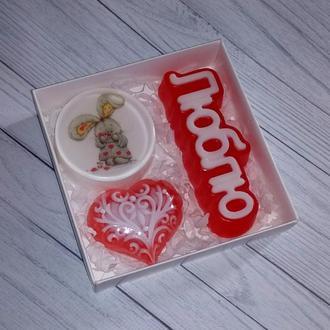 Сувенирное мыло: набор Люблю с зайкой