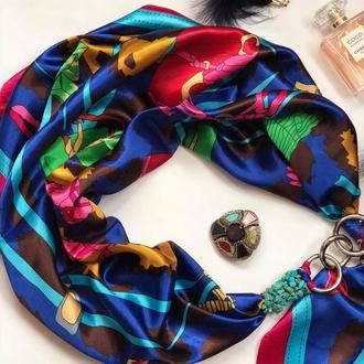 """""""Синяя лилия"""" атласный платок, шарф, шарф-колье, шарф-чокер, шейный платок, подарок женщине"""