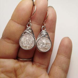 Сережки на срібному гачку з кришталем