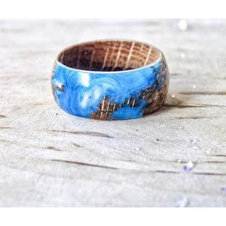 'ОКЕАН', кольцо из дерева и ювелирной смолы, мужское кольцо, женское кольцо, подарок для любимых