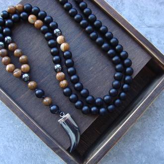 Мужское украшение на шею из натуральных камней