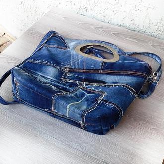 Лоскутная джинсовая сумка