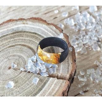 'ЧЁРНОЕ ЗОЛОТО' , кольцо из дерева и эпоксидной смолы, подарок для женщин и мужчин