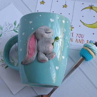 """Чашка """"Зайка.Скоро весна"""",чашка с декором из полимерной глины"""