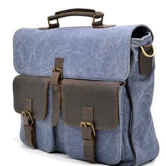 Городской трасформер портфель-рюкзак из канвас и лошадиной кожи RK-1282-4lx от TARWA