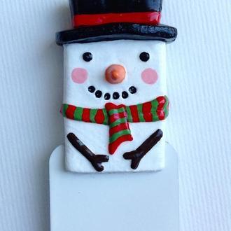 Закладка для книги Снеговик .Snowman bookmark. Christmas bookmark. Happy snowman. Kids bookmark