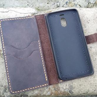 Чехол-портмоне для телефона из натуральной кожи с силиконовым бампером