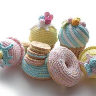 Вязаные сладости.Набор сладких игрушек. Интерьерная игрушка.Подарок девочке.