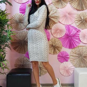 Молодежное платье-туника с объемными косами