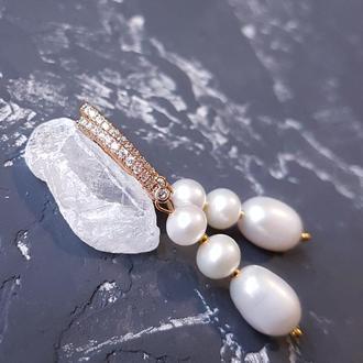 Позолочені сережки з натуральними перлами англійський замок серьги с жемчугом свадебные и не только