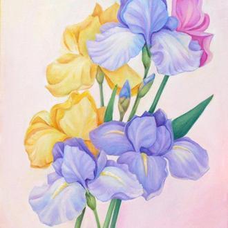 Картина цветы на холсте Нежные цветы картина Розовые цветы картина Ирисы картина Интерьерная картина