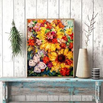 Картина цветы Яркая картина Подсолнух картина Абстрактная картина Картина для интерьера