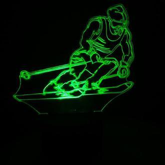 Лыжник, ночник светильник лампа, в детскую, спальню, подарок спортсмену, лыжнику