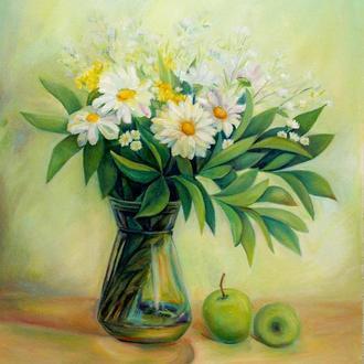 Ромашки картина Букет картина Картина с ромашками Картина цветы Букет цветов картина Белые цветы