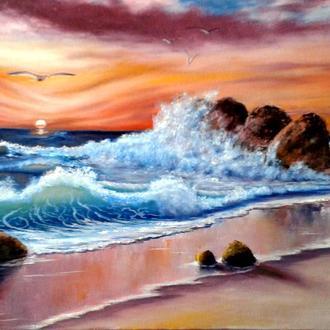 "Алек Гросс. Картина ""Краски моря"". 50х70 см, холст, масло."