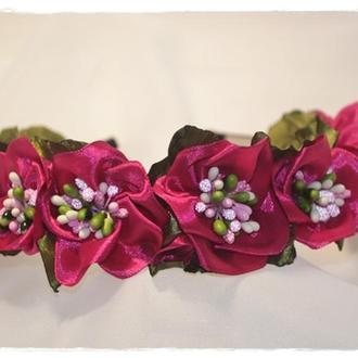 Обруч с цветами Камелия