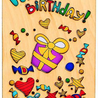 Открытка с деревянной обложкой Happy Birthday,  Подарок, фигурная