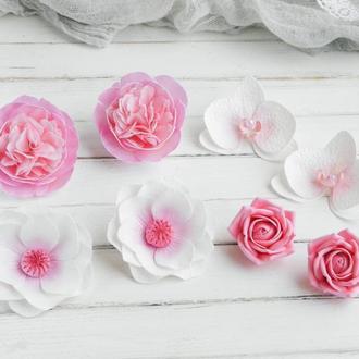 Подарочный набор украшений Розовые цветы, Резинки для волос, Подарок девочке на день рождения