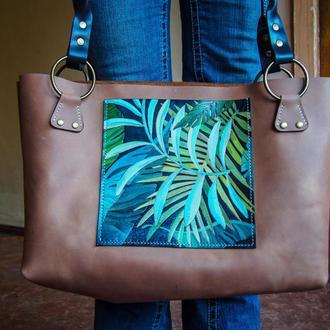 Женская кожаная сумка пакет Тропики, женская сумка
