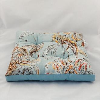 Подушка на стул. Квадратная подушка. Мягкое сиденье. Бирюзовая подушка.