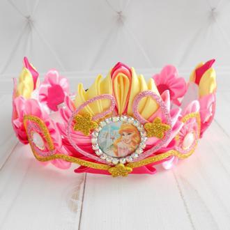Розовая корона для принцессы Украшение для волос с Авророй девочке Ободок тиара к фотосессии Подарок