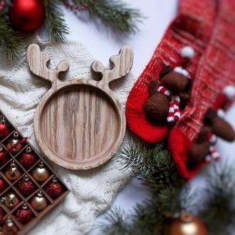 Тарелка деревянная Олень