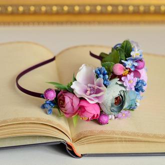 """Ободок, обруч и резиночка для мамы и дочки в стиле """"family look"""" из искусственных цветов № 43"""