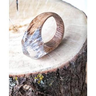 'АЛЬПЫ', кольцо из дерева и эпоксидной смолы, подарок для любимых