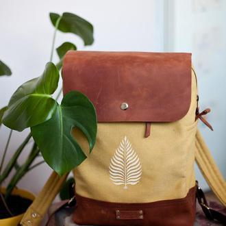 Рюкзак женский из хлопка и натуральной кожи