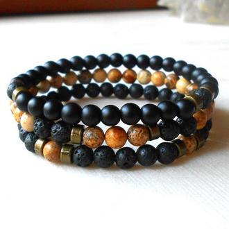 Набор мужских браслетов из натурального камня
