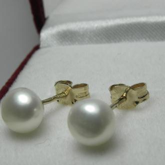 Серьги-гвоздики, ручная работа, натуральный пресноводный белый жемчуг, золото 585 пробы