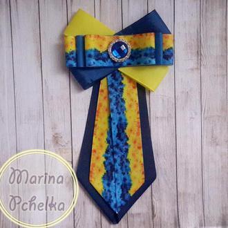 Галстук брошь для девочки или женский с в украинском стиле, национальный на булавке, школьный