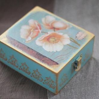 Шкатулка деревянная «Цветочная», декупаж