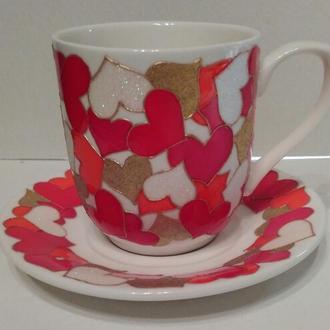 Подарки ко Дню Влюблённых. Фарфоровая чашка с блюдцем.