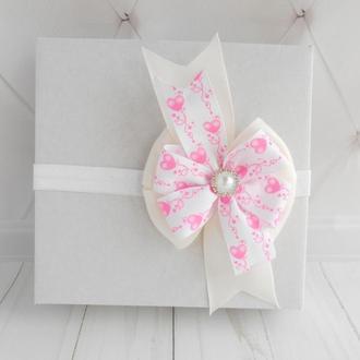 Повязка малышке на День Валентина с бантиком Украшение для волос девочке на годик Подарок ребенку
