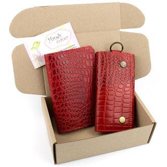 Подарочный набор №18 (красный крокодил): Обложка на паспорт + ключница Амелия