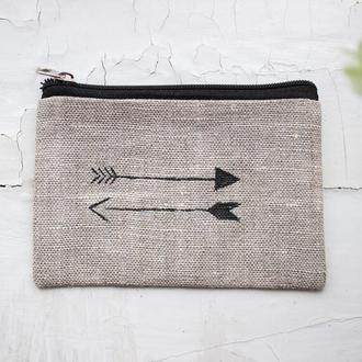 """Маленький кошелек из льна с рисунком """"Стрелы"""""""