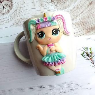 Чашка с декором Лол единорожка