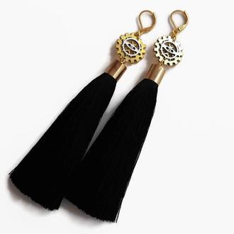 Длинные черные серьги-кисти в стиле стимпанк